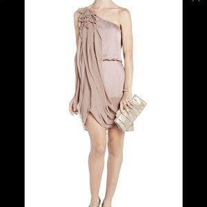 BCBG Lydia Blush Silk Ruffle Dress NWOT 6